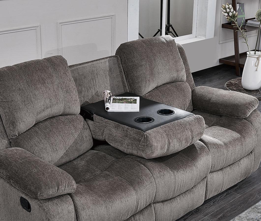 U3118c Reclining Sofa W Drop Down Table Subaru Mocha