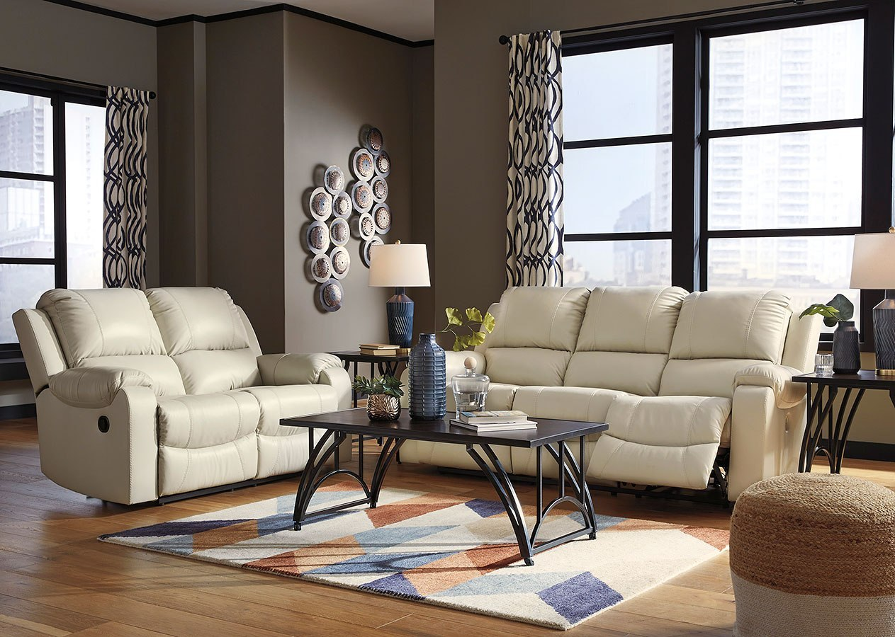 Rackingburg Cream Reclining Living Room Set Signature Design Furniture Cart