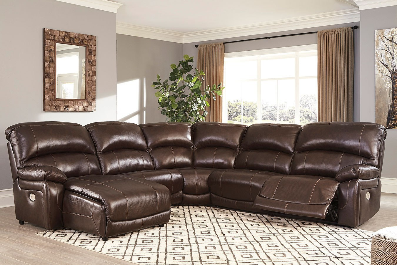 2 Accent Chairs And A Tv And Sectional.Hallstrung Chocolate Modular Power Reclining Left Facing Sectional