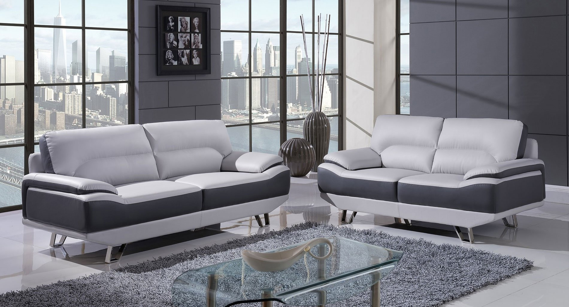 U7330 Living Room Set Nat Light Grey And Dark Grey