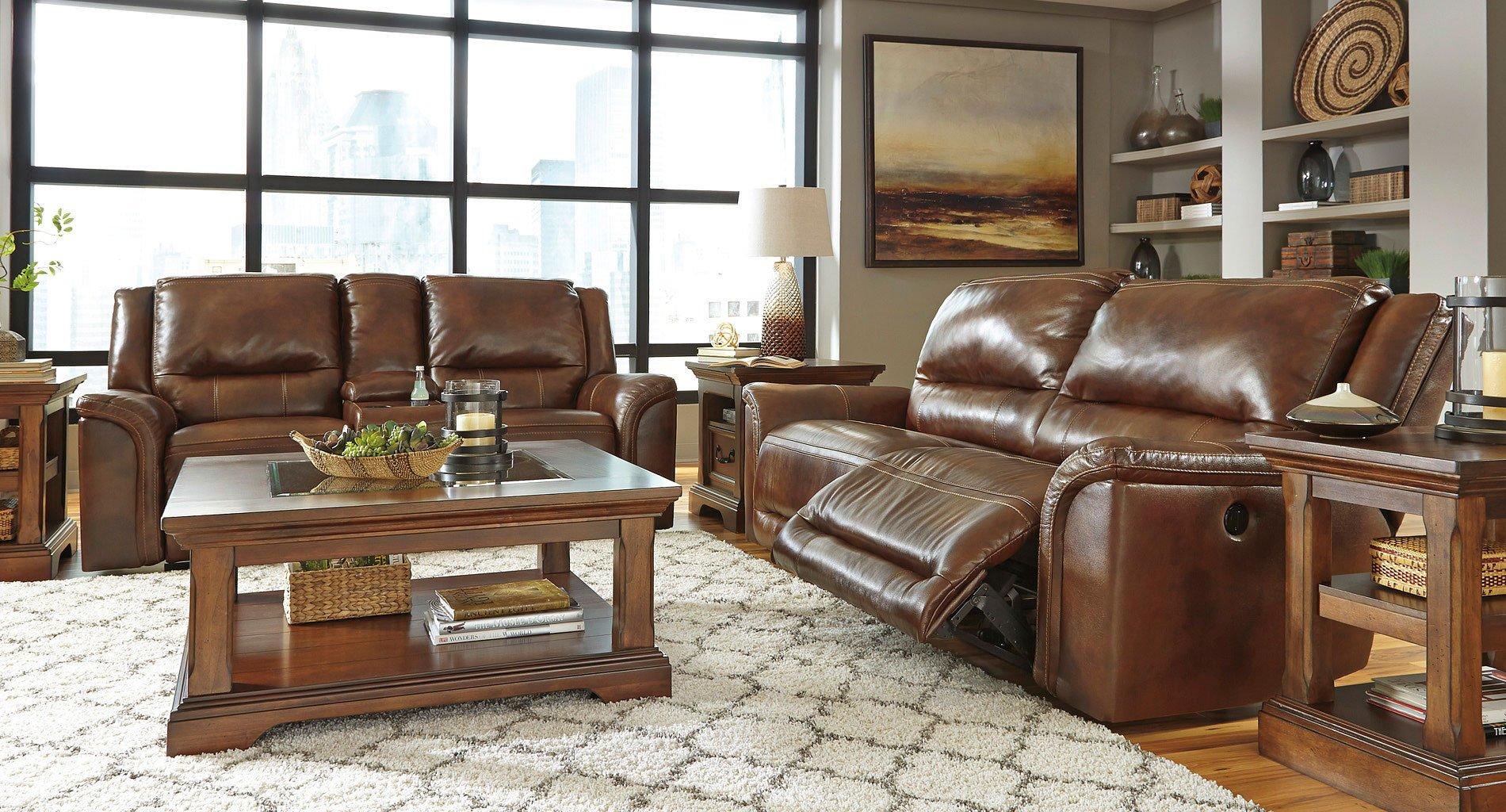 jayron leather power reclining living room set signature