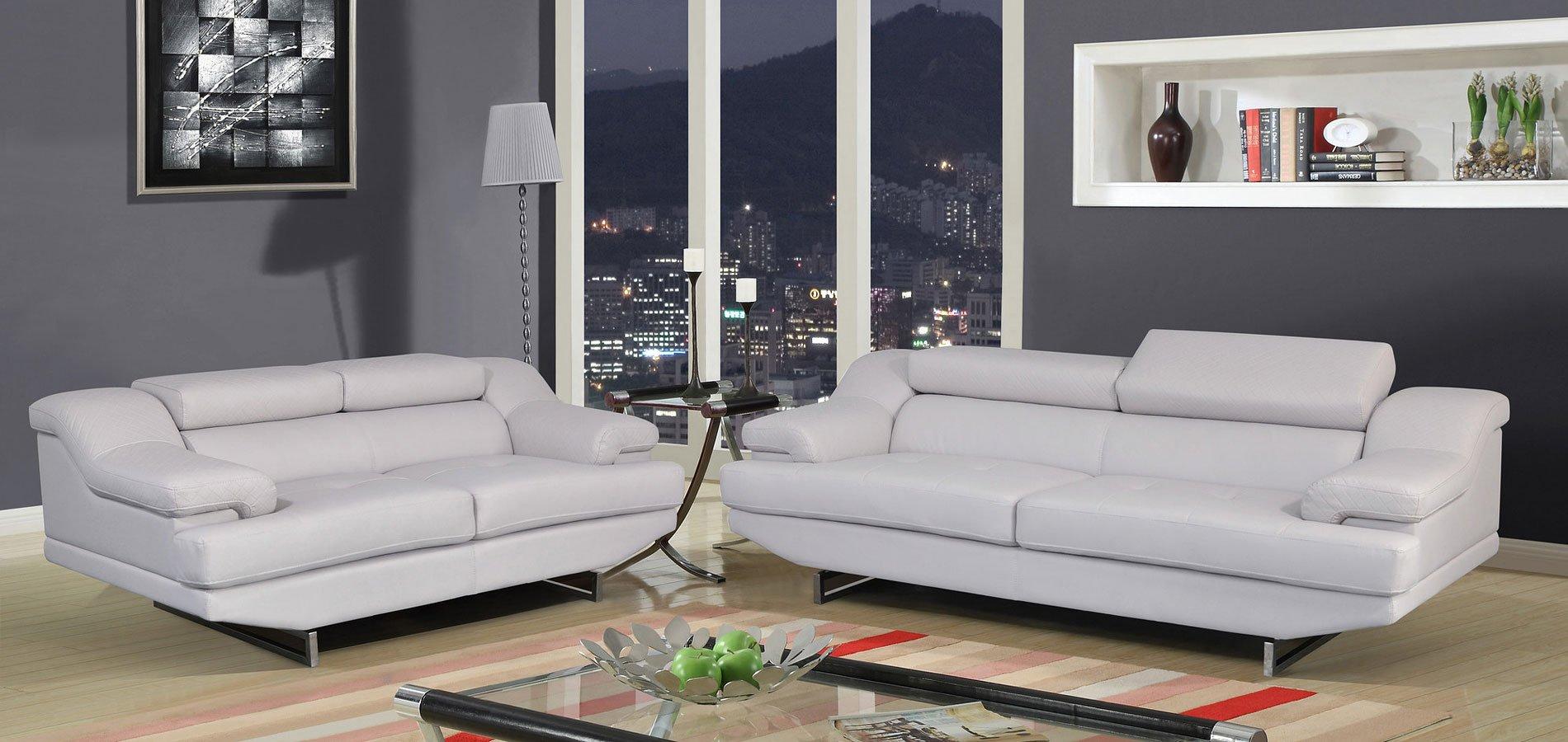 U8141 Living Room Set (Light Grey) Global Furniture