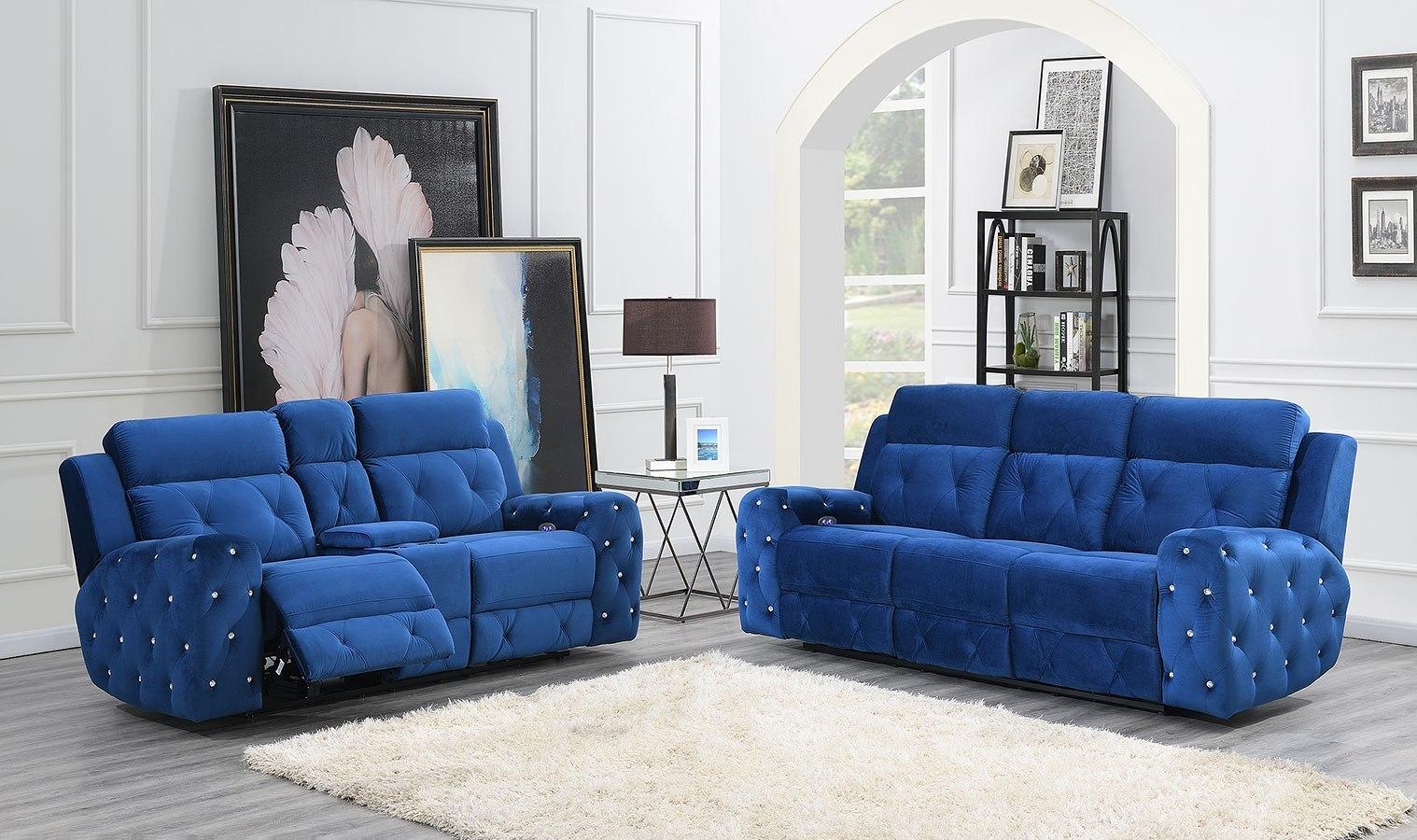 Image of: U8311 Blue Velvet Power Reclining Living Room Set Global Furniture Furniture Cart