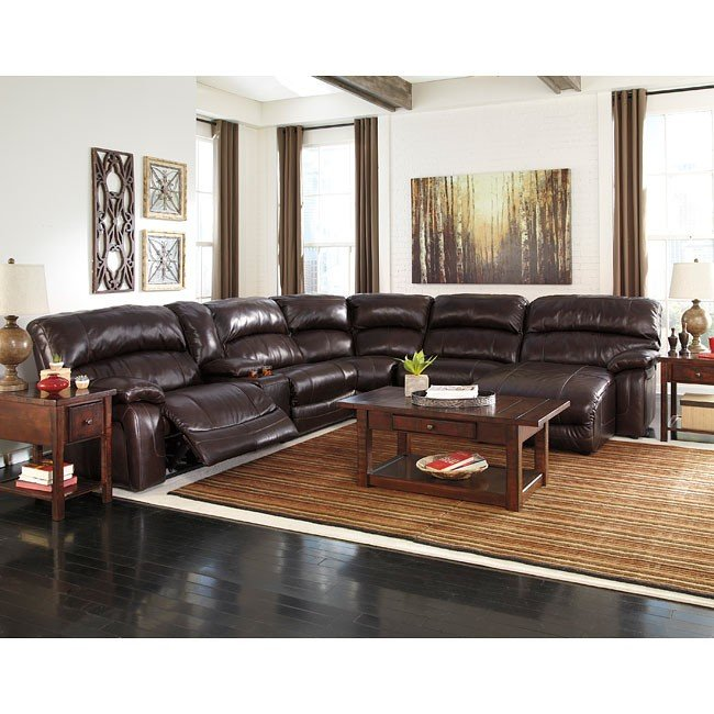 Damacio Dark Brown Reclining Modular Sectional w/ Power