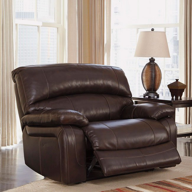 Damacio Dark Brown Wide Recliner w/ Power