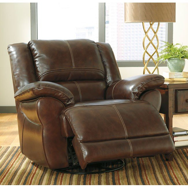 Lenoris Coffee Swivel Rocker Recliner w/ Power