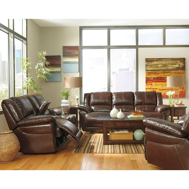 Lenoris Coffee Reclining Living Room Set w/ Power