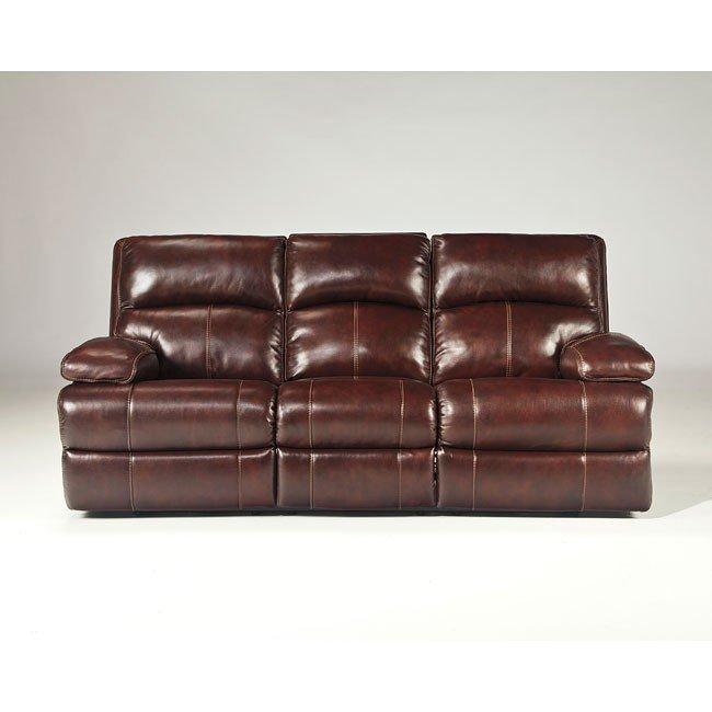 Lensar Burgundy Reclining Sofa