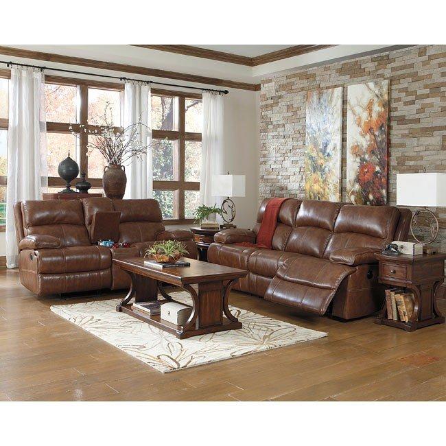 Lensar Nutmeg Reclining Living Room Set w/ Power