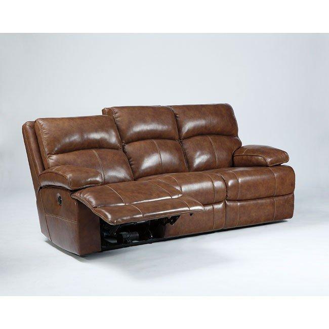 Lensar Nutmeg Reclining Sofa w/ Power