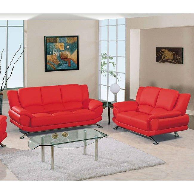 U9908 Red Modern Living Room Set Global Furniture