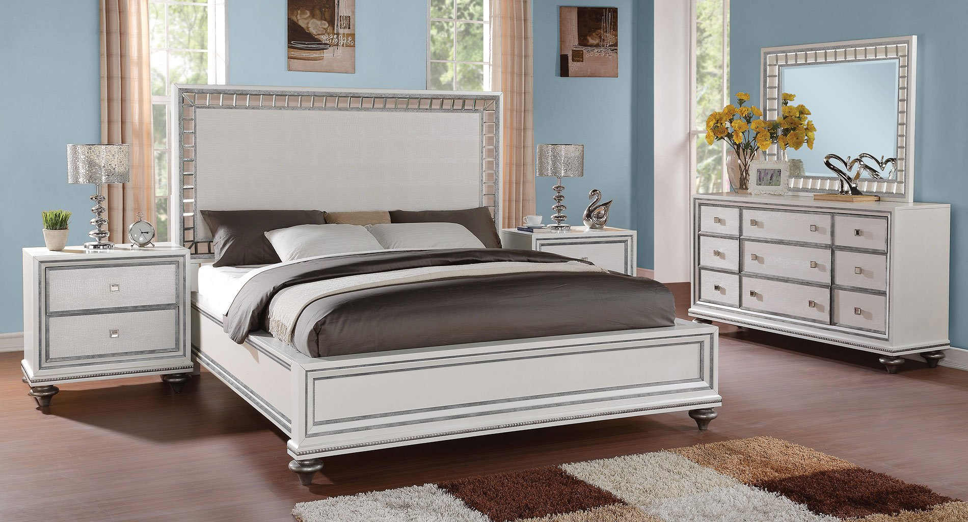 Monterrey Panel Bedroom Set (White Pearl)