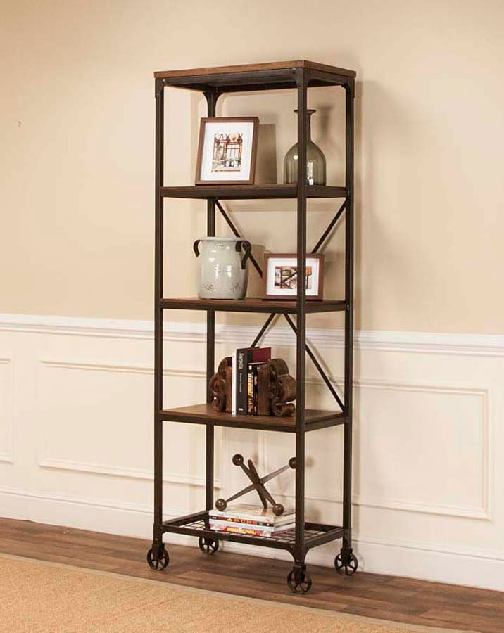 Craft Rustic Elm Narrow Bookcase