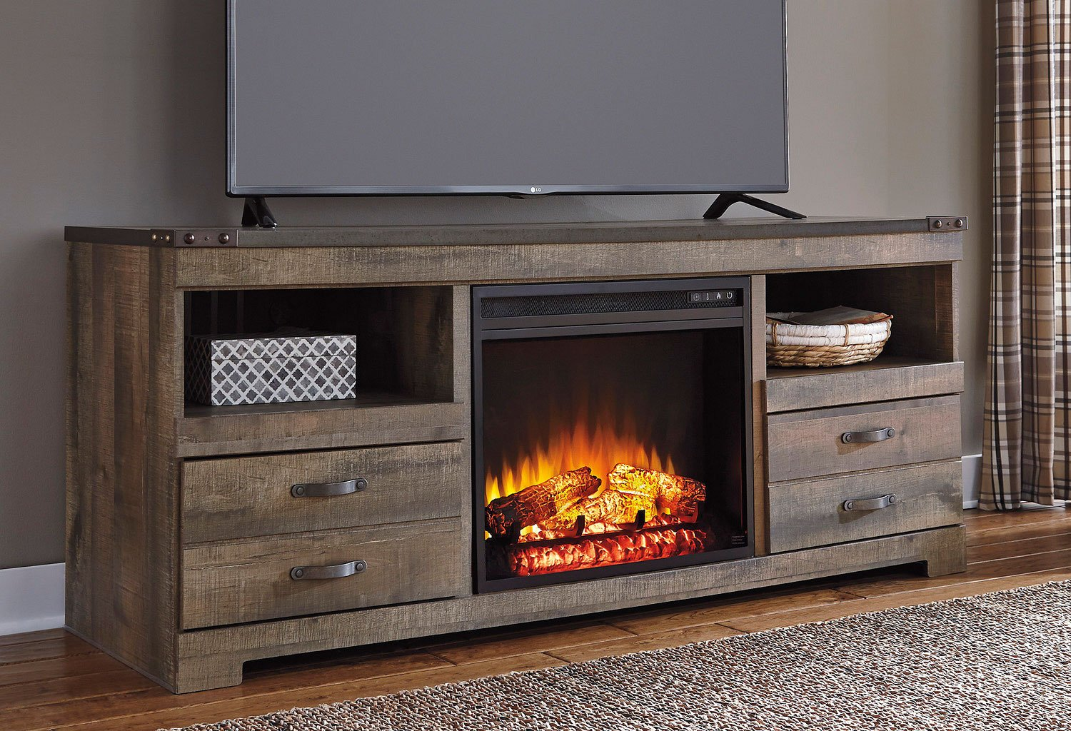 Trinell Large Tv Stand W Fireplace Signature Design 1