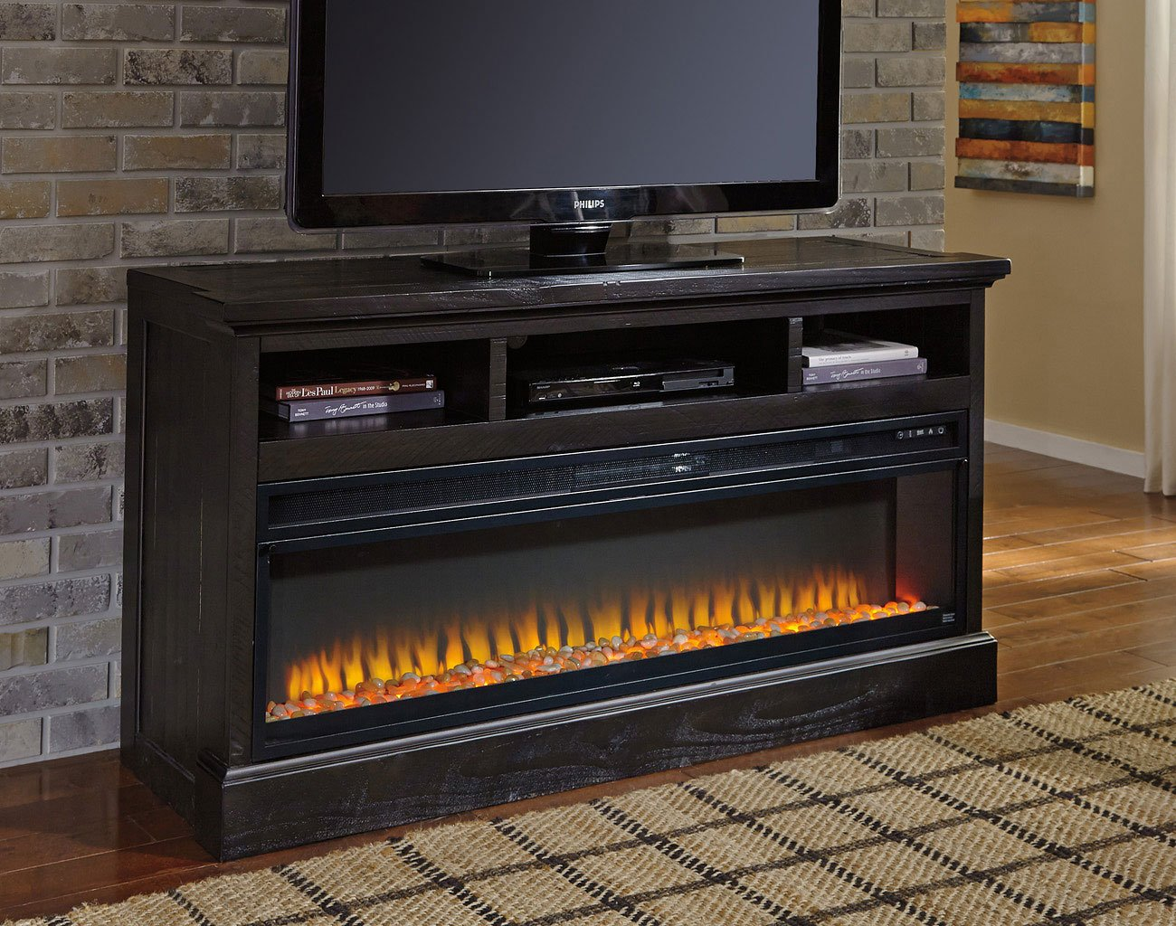 Sharlowe Large TV Stand W/ Electric Fireplace Signature