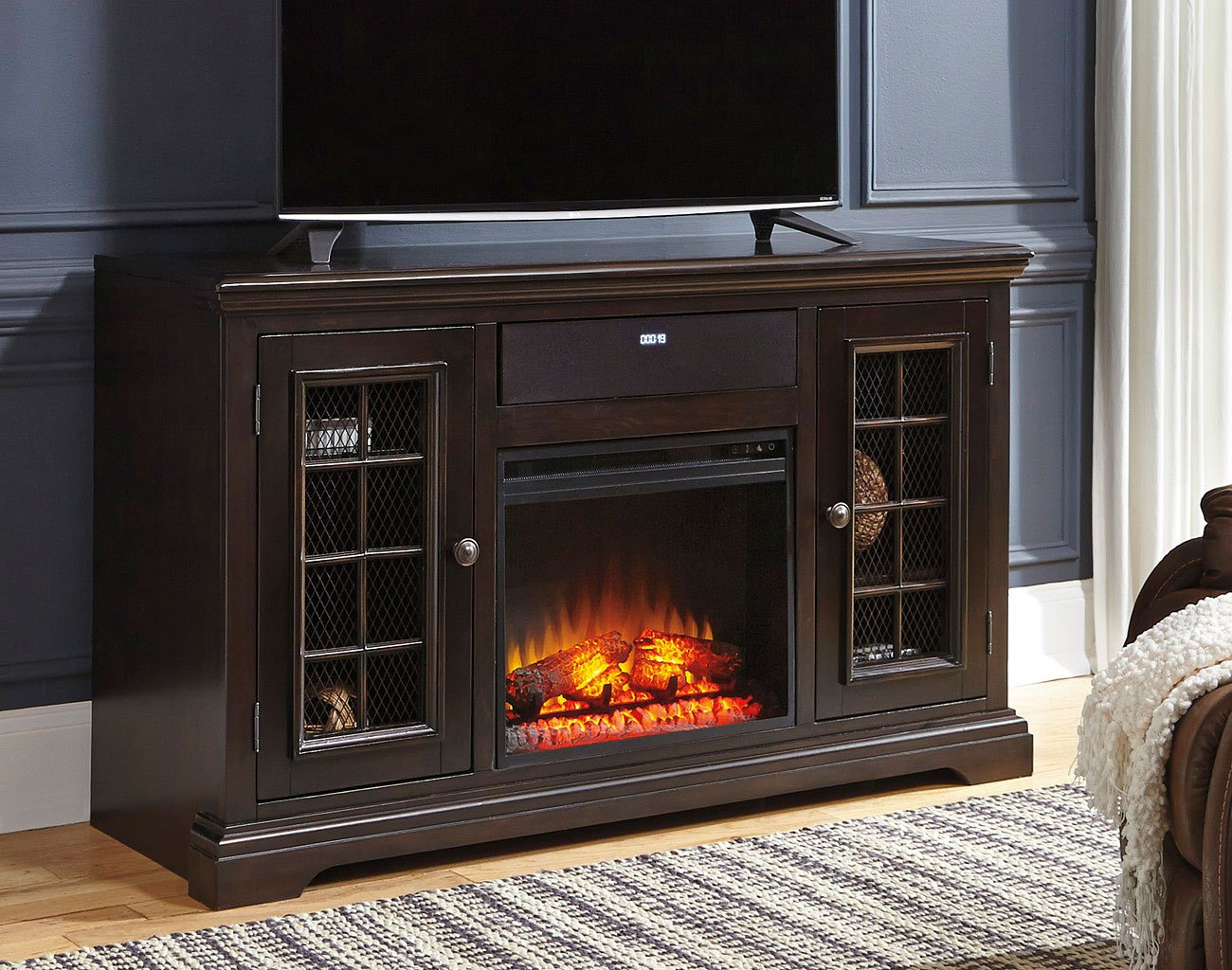 Willenburg Large Tv Stand W Fireplace And Audio Option Signature