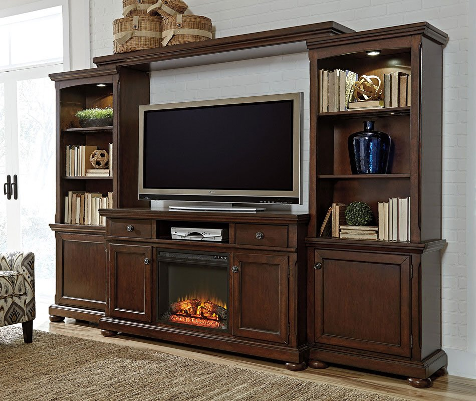 Porter Extra Large Entertainment Wall W Fireplace