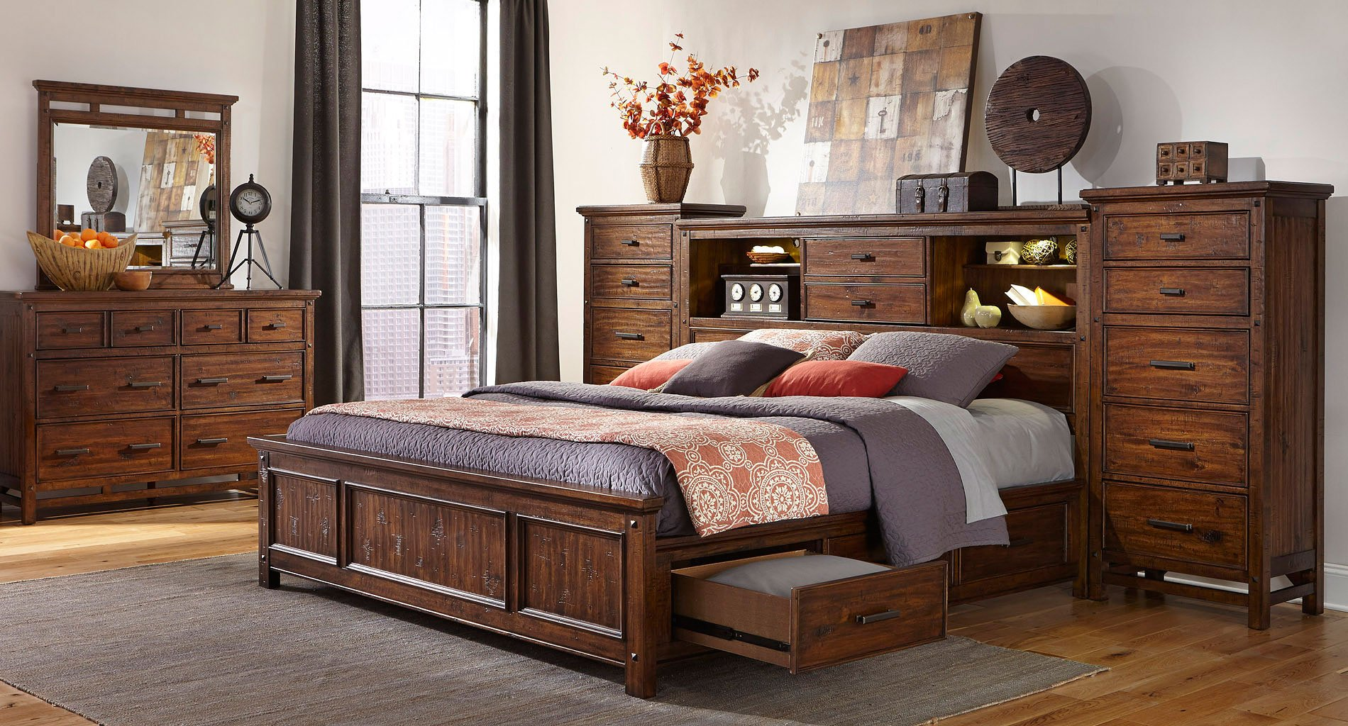Wolf Creek Bookcase Bedroom Set W One Side Storage Intercon Furniture Furniture Cart