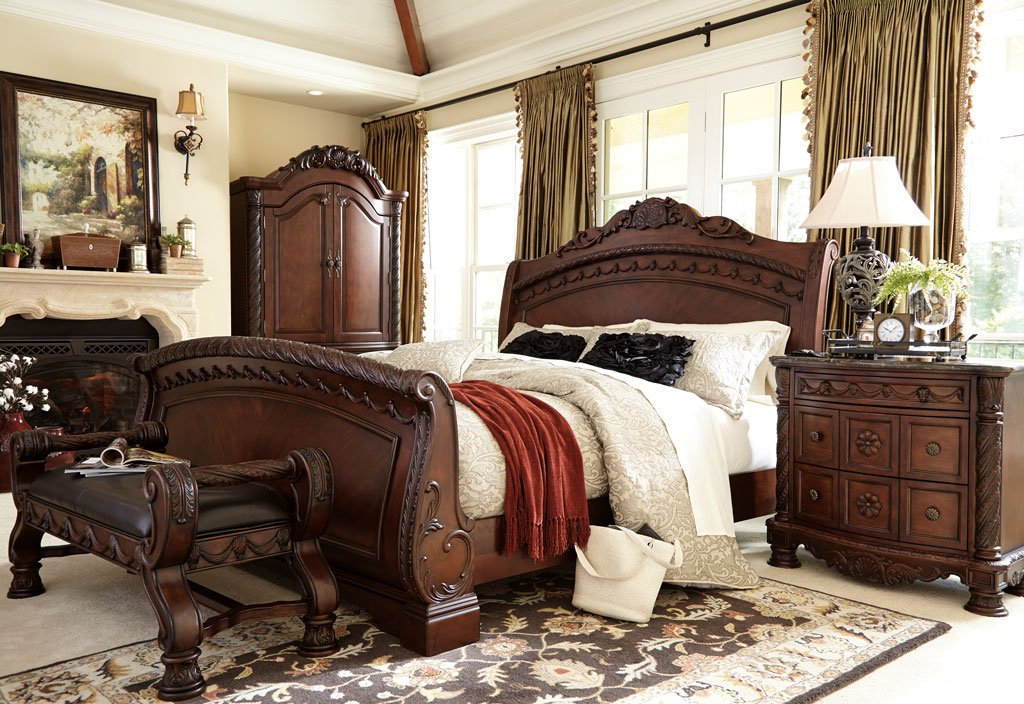 north shore sleigh bedroom set millennium, 4 reviews | furniture cart