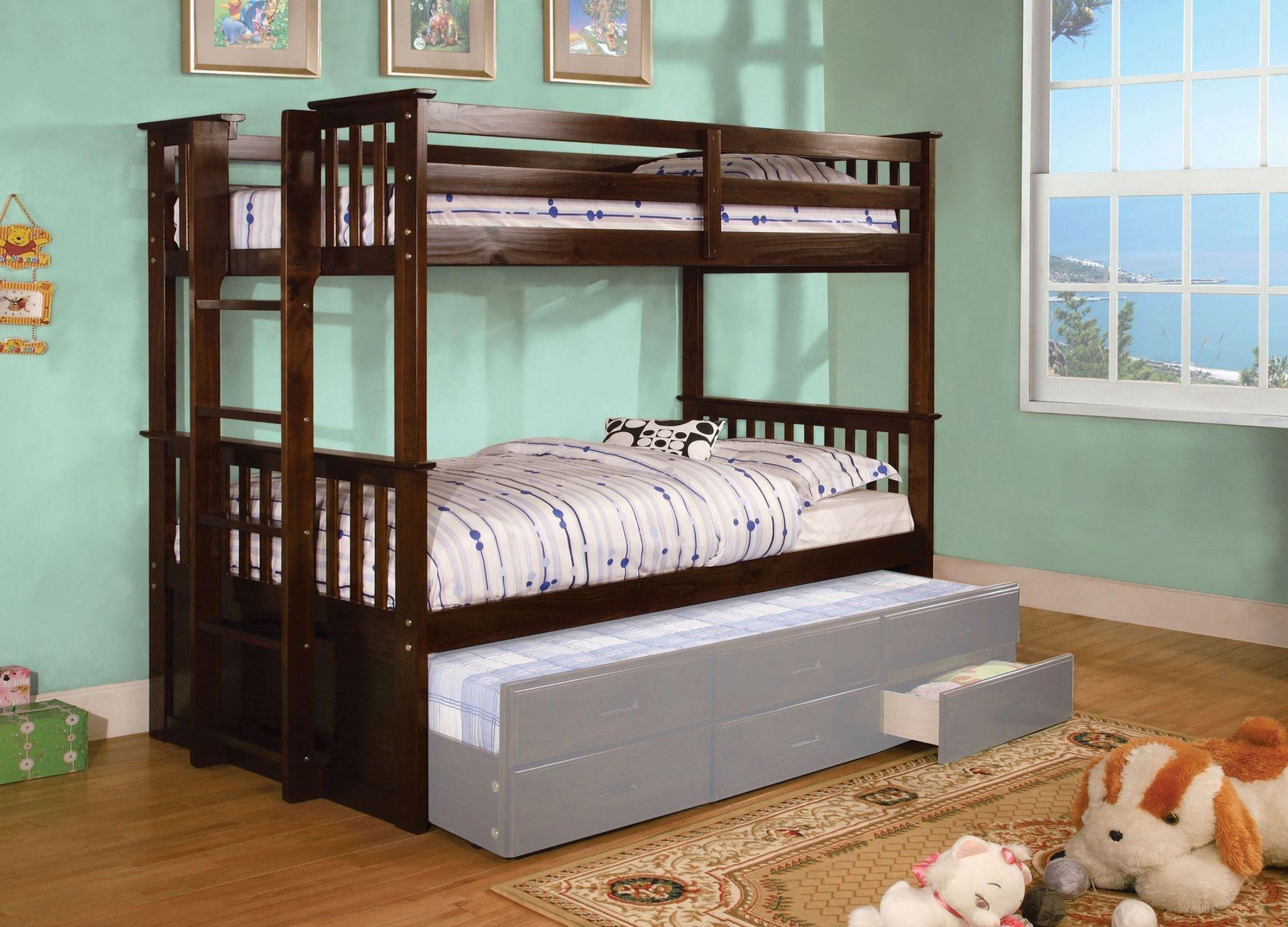 University Twin Over Bunk Bed Dark Walnut Furniture Of America 1 Reviews Cart