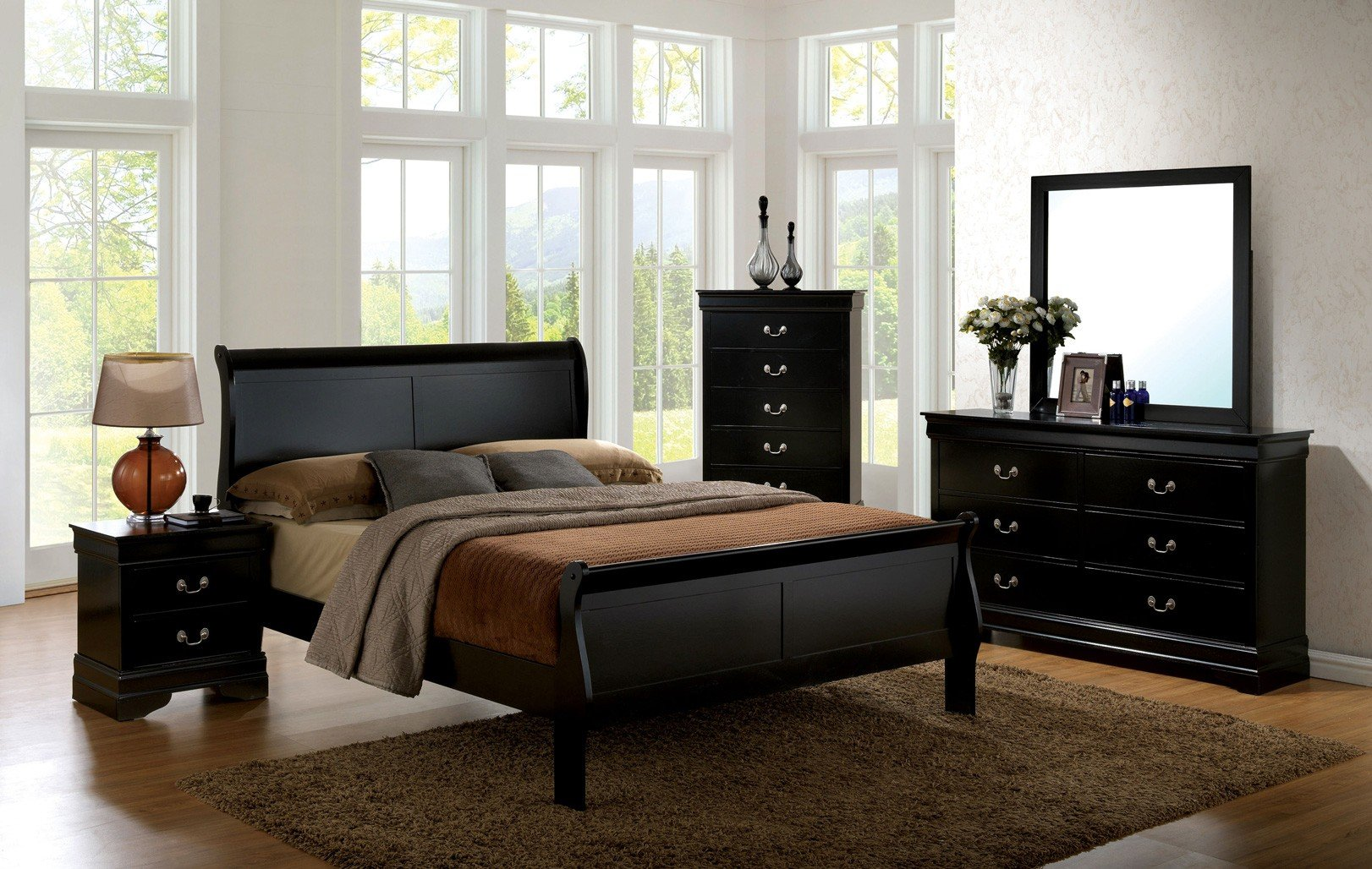 Louis Philippe III Sleigh Bedroom Set (Black)