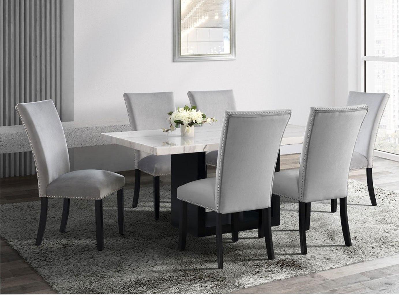 Valentino Dining Room Set w/ Grey Francesca Chairs