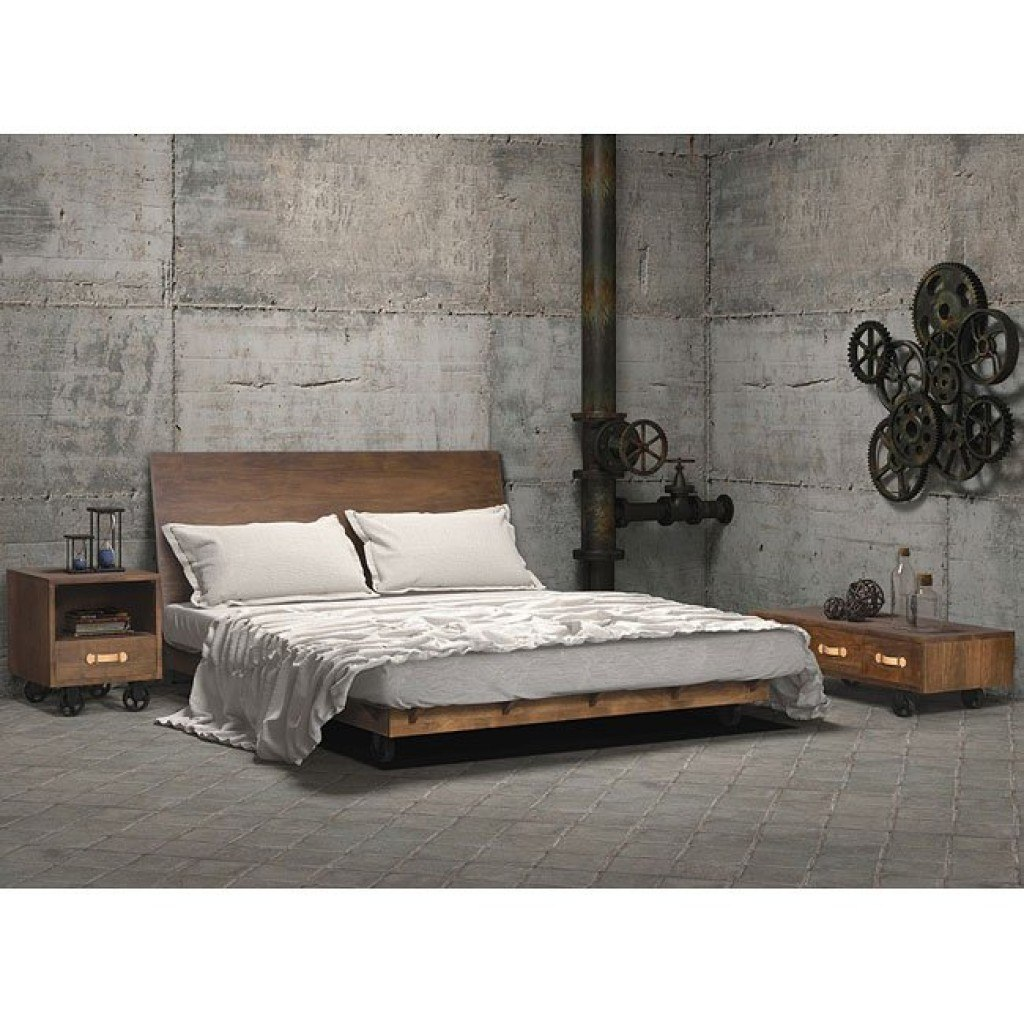 Oaktown Low Profile Bedroom Set (Distressed Walnut)