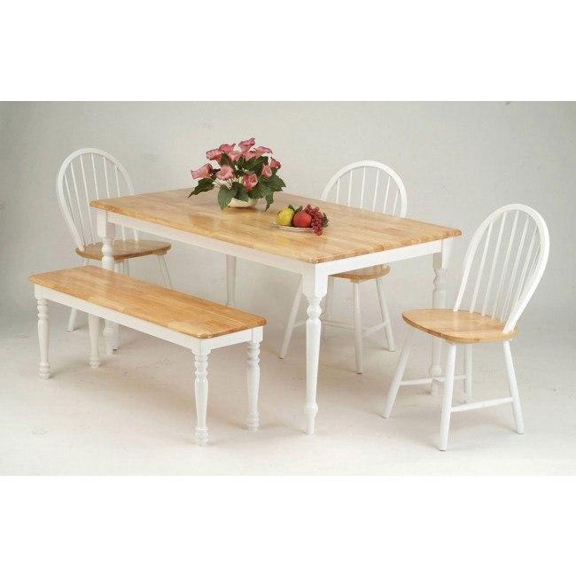 Farmhouse Dining Room Set W Bench Natural White Acme Furniture Furniture Cart
