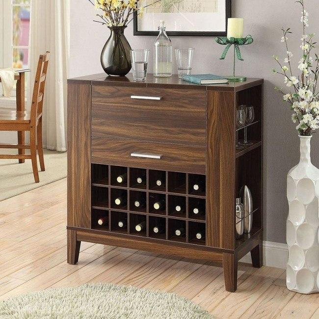 Dark Walnut Small Bar Cabinet