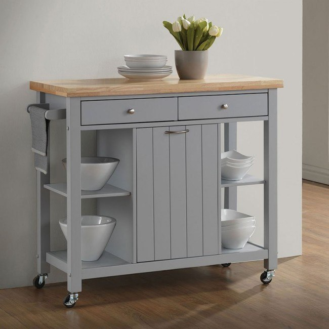Natural Large Kitchen Cart Light Grey