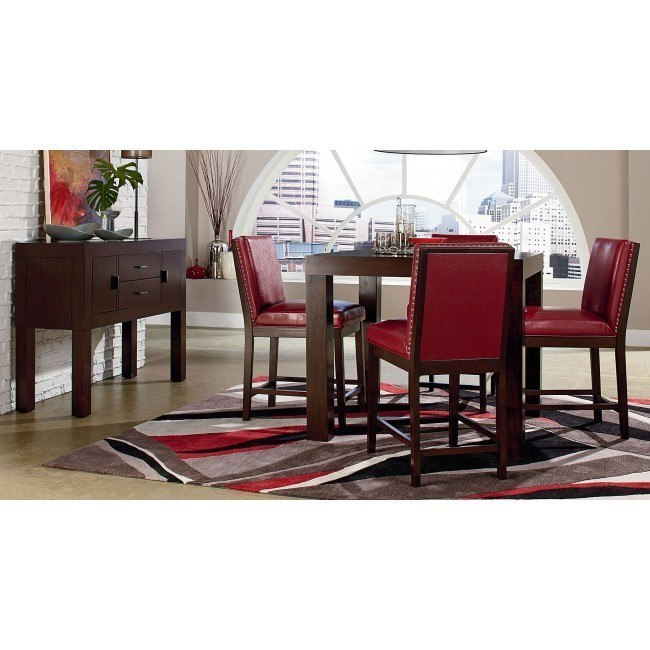 Couture Elegance Counter Dining Room Set w/ Red Chairs