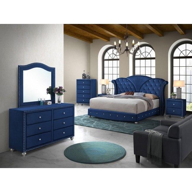 Enjoyable Alana Upholstered Bedroom Set Blue Pdpeps Interior Chair Design Pdpepsorg