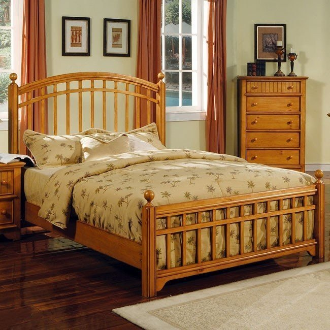 Country Pine Panel Bed World Imports   Furniture Cart