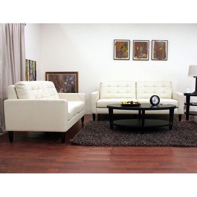Caledonia Leather Sofa and Loveseat Set (Cream)