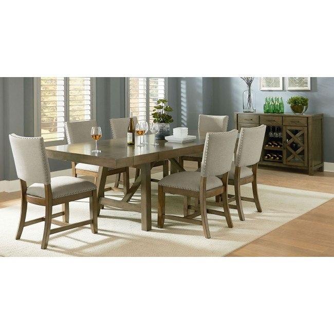 Ashley Furniture Omaha Ne: Omaha Dining Room Set W/ Upholstered Chairs (Grey