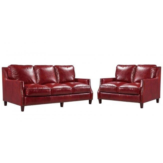Oakridge Leather Living Room Set (Red)
