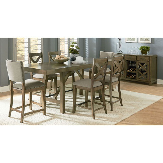 Omaha Counter Height Dining Set W/ Chair Choices (Grey