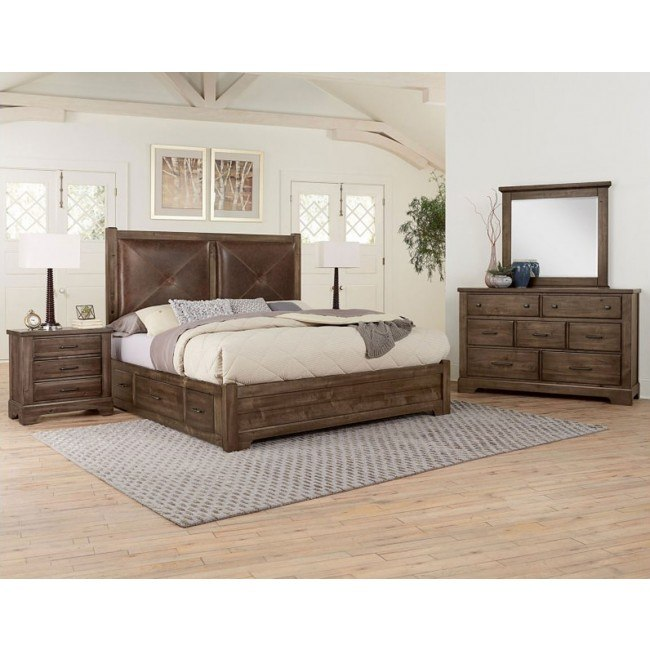 Cool Rustic Leather Headboard Bedroom Set W 2 Side Storage Units Mink