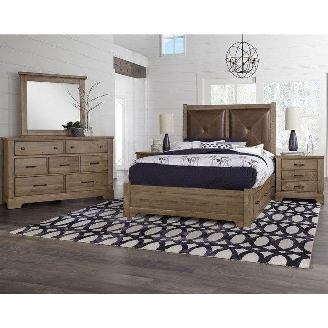 Cool Rustic Leather Headboard Bedroom Set w/ 2 Side Storage Units (Stone  Grey)