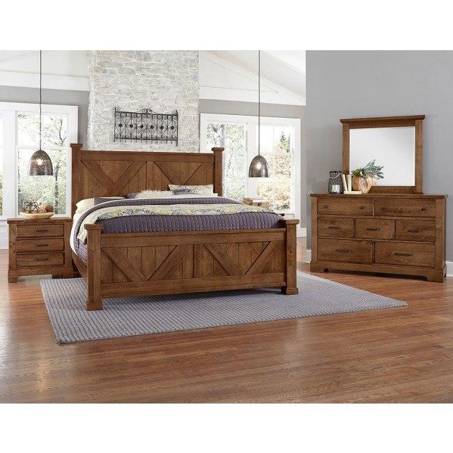 Cool Rustic X-Style Panel Bedroom Set (Amber)