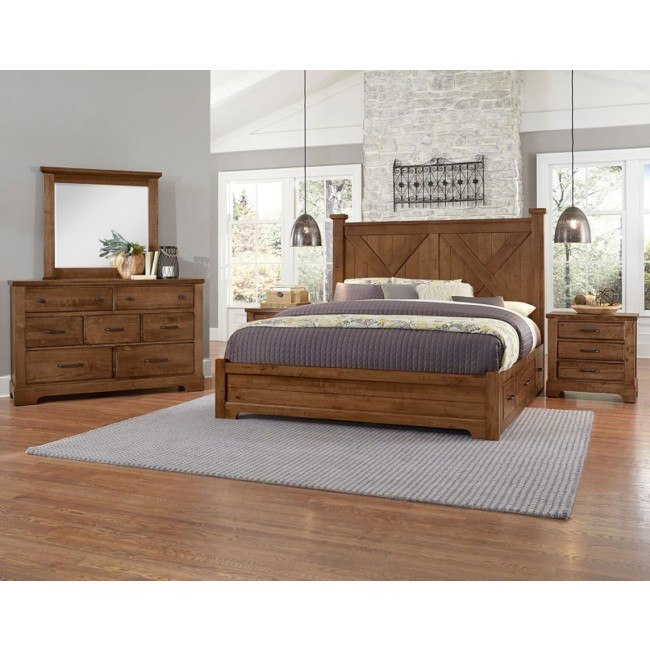 Cool Rustic X-Style Bedroom Set w/ 2 Side Storage Units (Amber)