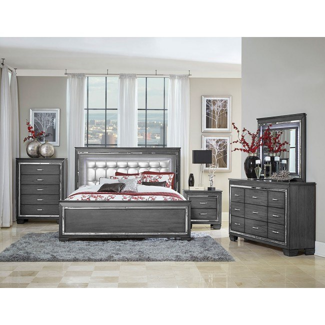 Allura Panel Bedroom Set W Led Lighting Gray Homelegance Furniture Cart