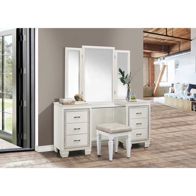 Allura Vanity Dresser W Mirror White