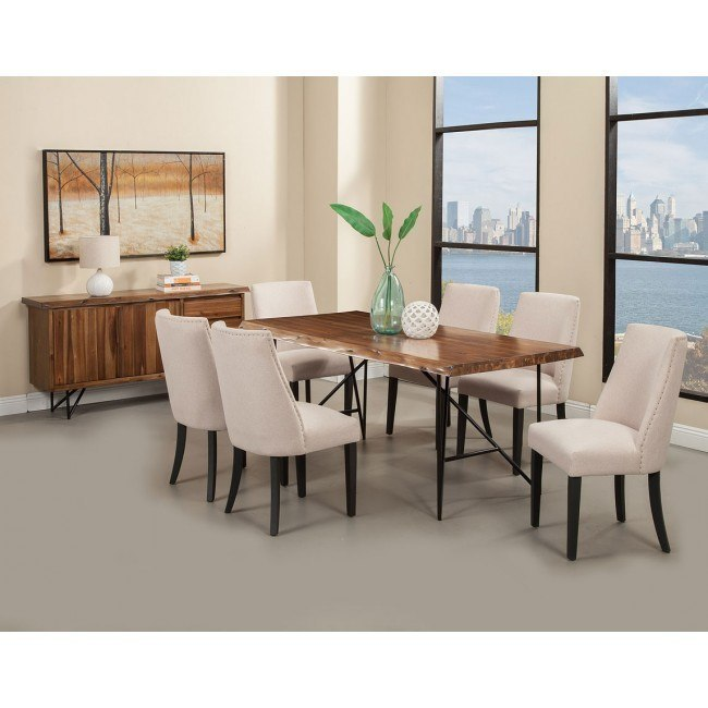 Live Edge Dining Room Set w/ Upholstered Chairs