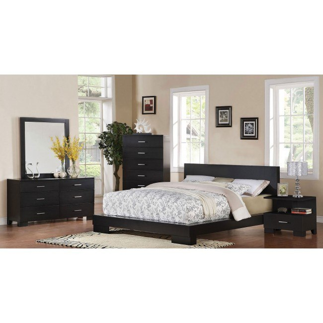 London Low Profile Bedroom Set (Black)