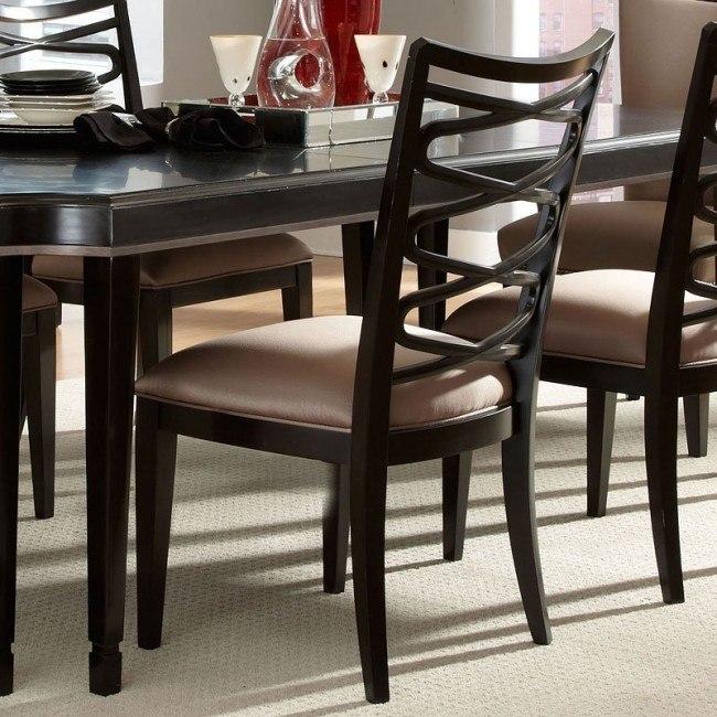 Fine Cosmopolitan Ribbon Side Chair Ebony Set Of 2 Short Links Chair Design For Home Short Linksinfo