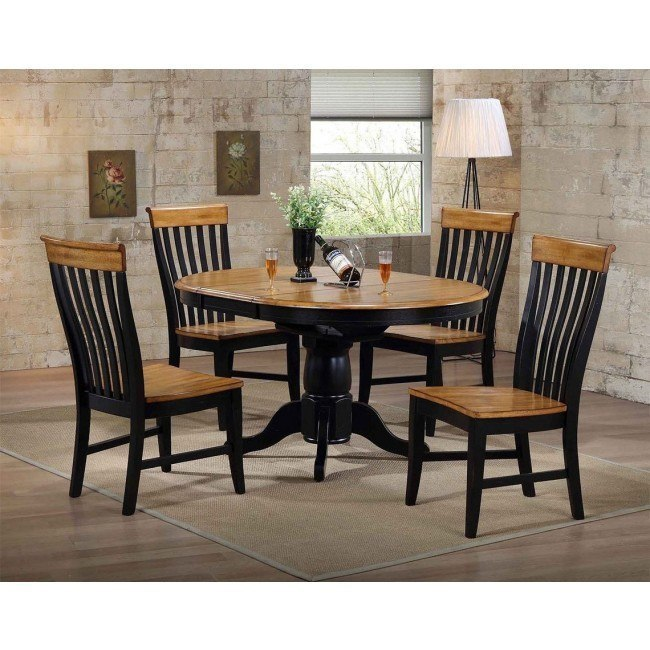 Missouri Black And Rustic Round Dining Set W Lancaster Chairs Eci Furniture 2 Reviews Furniture Cart