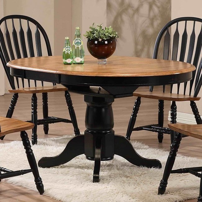 Round Dining Table Black Rustic Oak