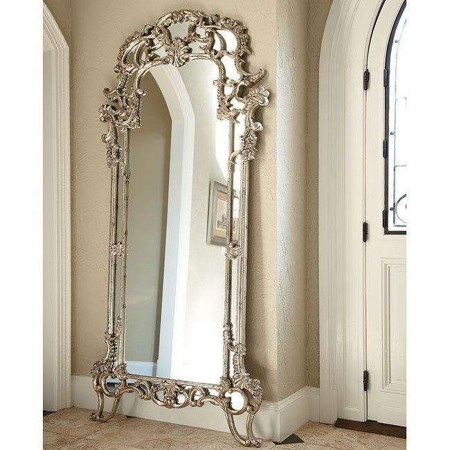 Jessica Mcclintock The Boutique Decorative Floor Mirror Silver Veil American Drew Furniture Cart