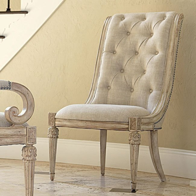 Jessica Mcclintock The Boutique Upholstered Side Chair White Veil Set Of 2 American Drew Furniture Cart